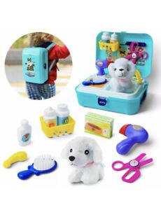 16 pcs Pet Care Role Play Set Backpack Vet Kit Educational Toy for Kids Children