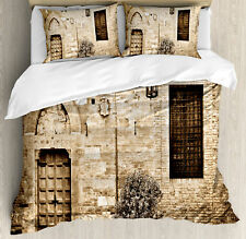 Rustic King Size Duvet Cover Set Stone House Sepia View with 2 Pillow Shams