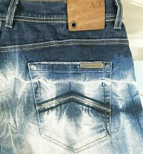 *HOT Men USA AX ARMANI EXCHANGE @ STRAIGHT DISTRESS STRETCH Fading Jeans 38 x 32