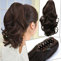Remy hair extension Wavy hair ponytail 100% human hair claw jaw clip in ponytail