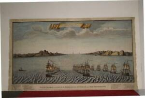 GIBRALTAR STRAIT OF GIBRALTAR CEUTA SPAIN 1790ca ANONYMOUS LARGE ANTIQUE VIEW