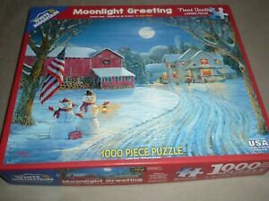 WHITE MOUNTAIN 1000 pc puzzle MOONLIGHT GREETING by SAM TIMM - #1135 - COMPLETE