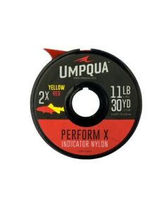 UMPQUA PERFORM-X INDICATOR NYLON TIPPET 2X 10.7 LB 30 YARD SPOOL IN YELLOW & RED