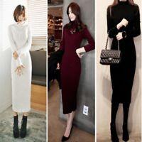 Fashion Women Long Sleeve Winter Warm Knitted Jumper Sweater Dress Pullover Tops