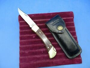 Vintage Single Blade Folding Buck Knife W/ Leather case #110