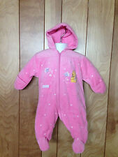 TODDLER GIRL'S POOH VELOUR HOODED SNOWSUIT-SIZE: 3-6 MONTHS