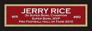 Jerry Rice color nameplate for signed autographed football photo jersey