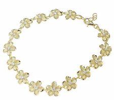 """YELLOW GOLD 925 SILVER HAWAIIAN FANCY PLUMERIA FLOWER BRACELET CZ 10MM 7""""+"""