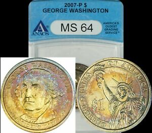 2007-P George Washington Dollar ANACS MS64 Turquoise/Golden/Red Toned Coin