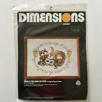 Dimensions Crewel Kit Music is the Song of Love Raccoon Porcupine Rabbit Animals