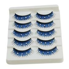 Blue Color 5Pair Makeup False Eyelashes Feather Eye Lashes Long Soft Extension S