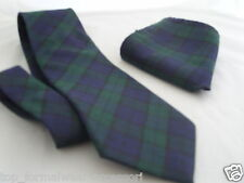 "(A) Black Watch Polyester Tie and Hankie set-Classic 3.3""=8cm -P&P 2UK>1st Class"