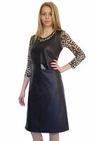 New Boutique Women Black Faux Leather Sleeveless Knee Length Dress 8 10 12 14 16