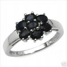 1.75ctw Genuine SAPPHIRE Ovals RING .925 Sterling Silver Size 7 NEW