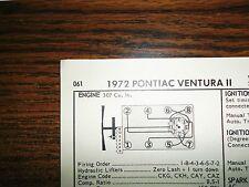 1972 Pontiac Ventura II Series 130 HP 307 CI V8 SUN Tune Up Chart Great Shape!