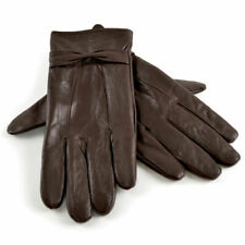New Ladies Soft Leather Lined Gloves Small Side Bow Different Colours//Sizes