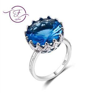 Boho 925 Silver Unisex Round Rings Large Sapphire Gemstone Fashion Jewelry Gifts
