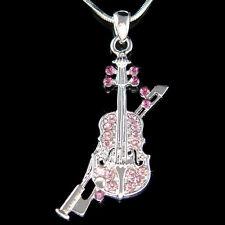 w Swarovski Crystal Fiddle Purple VIOLIN Bow Music Musical Pendant Necklace XMAS