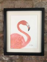 Flamingo, Original Watercolour Painting, Signed Art Not Print, Vintage