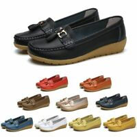 Womens Ladies Walking Loafers Real Leather Comfy Pump Flats Casual Shoes Slip On