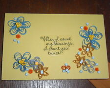 Handcrafted Paper Quill Plaque with Stand-New- When I count my Blessings