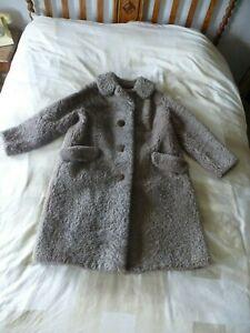 Ladies Vintage Persian Lambs wool Coat Light Brown/Grey colour 1950s Heavy