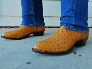 Nocona Saddle Tan Full Quill Ostrich Cowboy Boots 12D Amazing $679.99