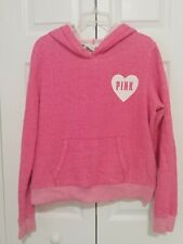Victorias Secret PINK Womens Large Pink Hoodie Pullover Sweatshirt Heavyweight