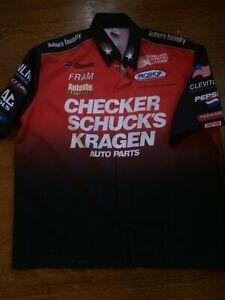NHRA Pit Crew Shirt Del Worsham Checker Schuck's Kragen Race Worn XL Button Up
