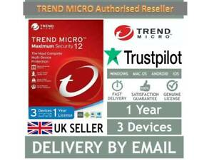 🔴 Trend Micro Maximum Security Ver.16/ 2020(3 Devices- 1Year) 10 SECOND DELIVER