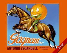 VINTAGE ORANGE ON A HORSE CITRUS SPANISH FRUIT POSTER FOOD ART REAL CANVAS PRINT