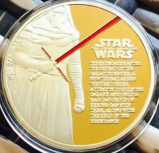 Star Wars Coin Finished In 24k Gold 1oz .999 The Force Awakens Movie Release New