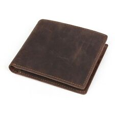 Fashion Mens Crazy Horse Leather Vintage Bifold Purse Wallet Credit ID Card Case