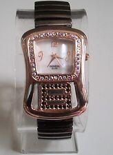 Designer Style stretchy Black Hematite/Rose Gold finish with stone Fashion watch