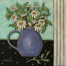 Window Daisies 12 x 12 x 3/4 ORIG CANVAS PAINTING FOLK ART PRIM Karla Gerard