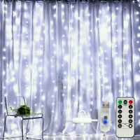 300 LED Curtain Lights String 3m*3m USB Powered Waterproof Twinkle Wall Light RG