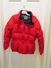 PACIFIC TRAIL Nylon DOWN Insulated Ski Jacket Womens Size L Red zippered EUC!