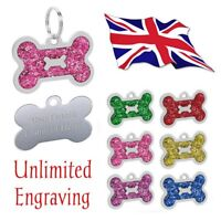 FREE ENGRAVING Dog ID / Name Tag Bone Glitter Puppy Pet Tags *BRAND NEW DESIGN*