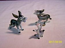 FAMILY OF 3 VINTAGE BONE CHINA  DONKEYS / ASSES  -MINT & NO RESERVE !
