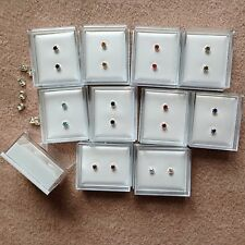 colours diamante stud earrings.Gift box Wholesale-20 pairs of 10 different 0.4cm