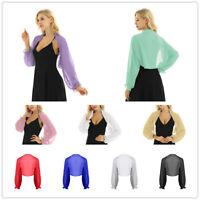 Chiffon Shrug Womens Sheer Long Sleeve Crop Top Beach Shawl Bolero Shrug Jacket