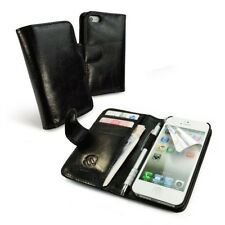 TUFF LUV Vintage Leather Wallet-Style Case Cover for Apple iPhone 5s / SE-Black