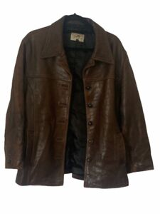 Scully Womens Leather Jacket Brown Button Up Vintage Collar 12