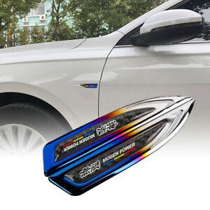 2x Mugen Burnt Blue Metal Carbon Fiber Emblem Car Trunk Side Wing Fenders Badge