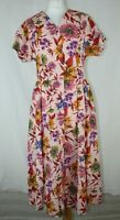Vintage Liberty London Pink Floral Fit Flare Midi Tea Dress Size 12
