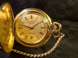 Nice Wittnauer Geneve Silhouette Gold Hunter Case Wind Up Date Pocket Watch