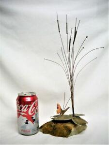 "Brass & Onyx Cattail, Lily Pad & Butterfly Mid Century Modern Art Sculpture 14"""