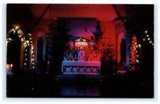 Christmas Display Chapel Mt. Alvernia Seminary Wappingers Falls NY Postcard C12