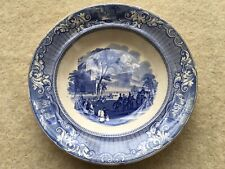 More details for scarce 1851 great exhibition blue&white souvenir plate entitled crystal palace