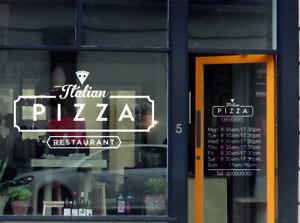 Pizza Italian Shop Opening Times Set Window Graphic Door Sign Vinyl  Stickers
